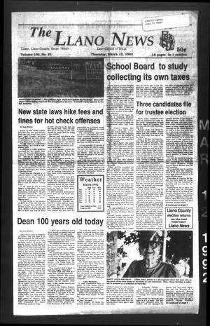 The Llano News (Llano, Tex.), Vol. 102, No. 21, Ed. 1 Thursday, March 12, 1992