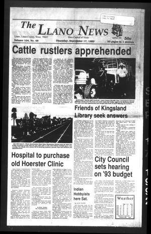 The Llano News (Llano, Tex.), Vol. 104, No. 48, Ed. 1 Thursday, September 17, 1992