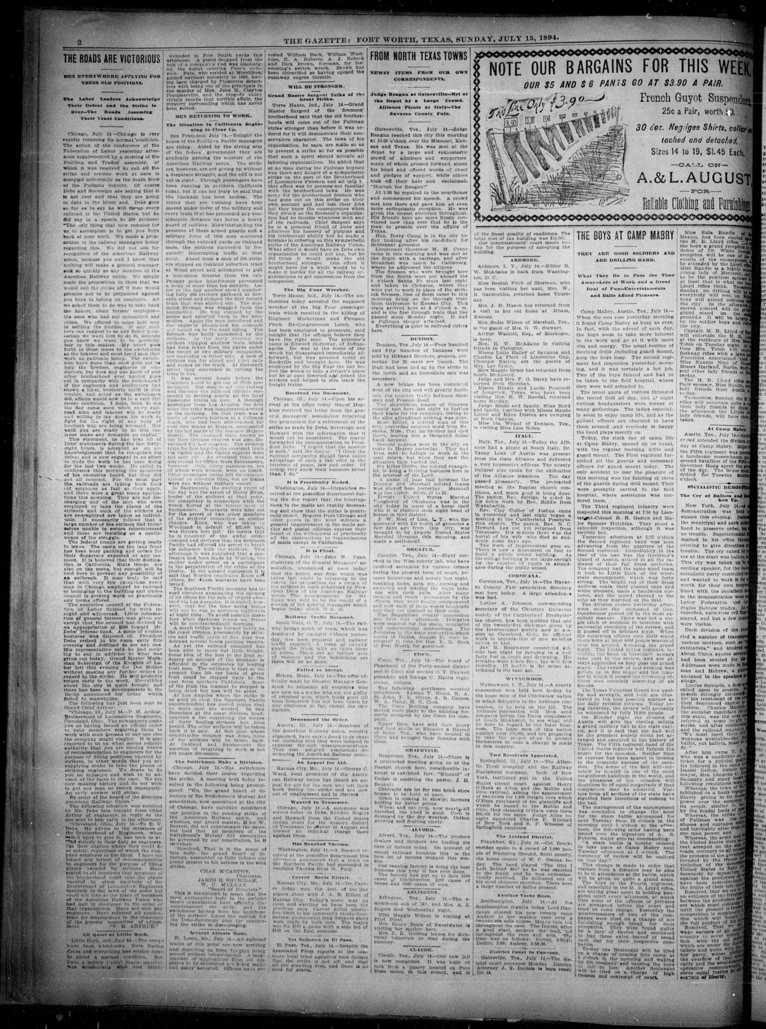 Fort Worth Gazette. (Fort Worth, Tex.), Vol. 18, No. 234, Ed. 1, Sunday, July 15, 1894                                                                                                      [Sequence #]: 2 of 16