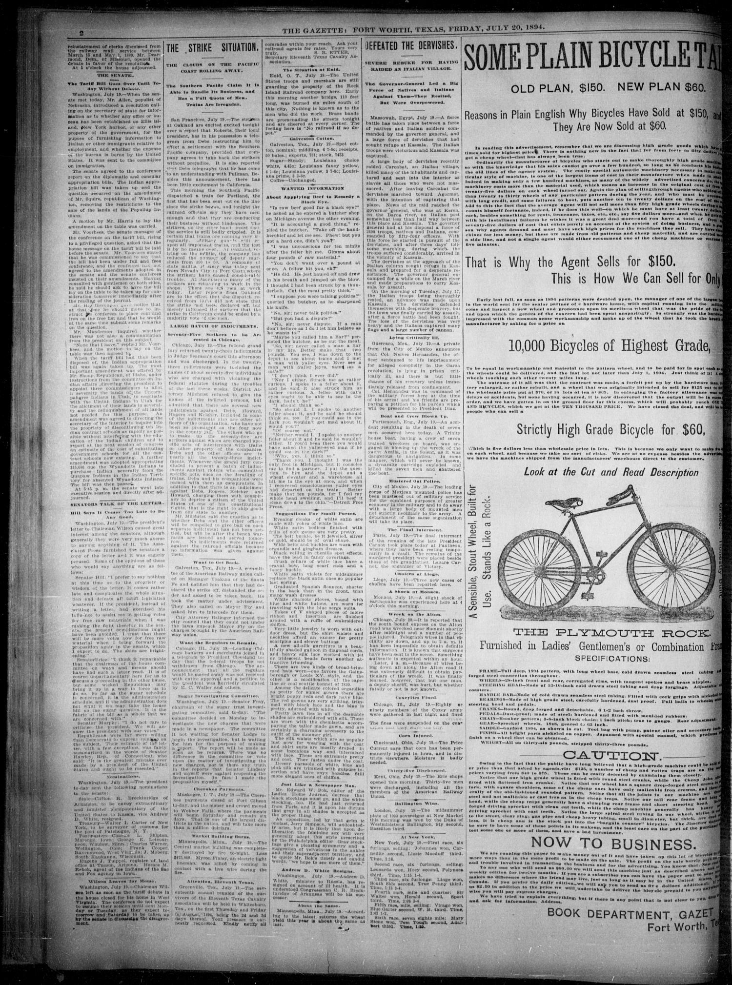 Fort Worth Gazette. (Fort Worth, Tex.), Vol. 18, No. 239, Ed. 1, Friday, July 20, 1894                                                                                                      [Sequence #]: 2 of 8