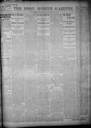 Primary view of object titled 'Fort Worth Gazette. (Fort Worth, Tex.), Vol. 18, No. 251, Ed. 1, Wednesday, August 1, 1894'.