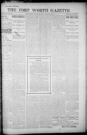Primary view of object titled 'Fort Worth Gazette. (Fort Worth, Tex.), Vol. 18, No. 256, Ed. 1, Monday, August 6, 1894'.
