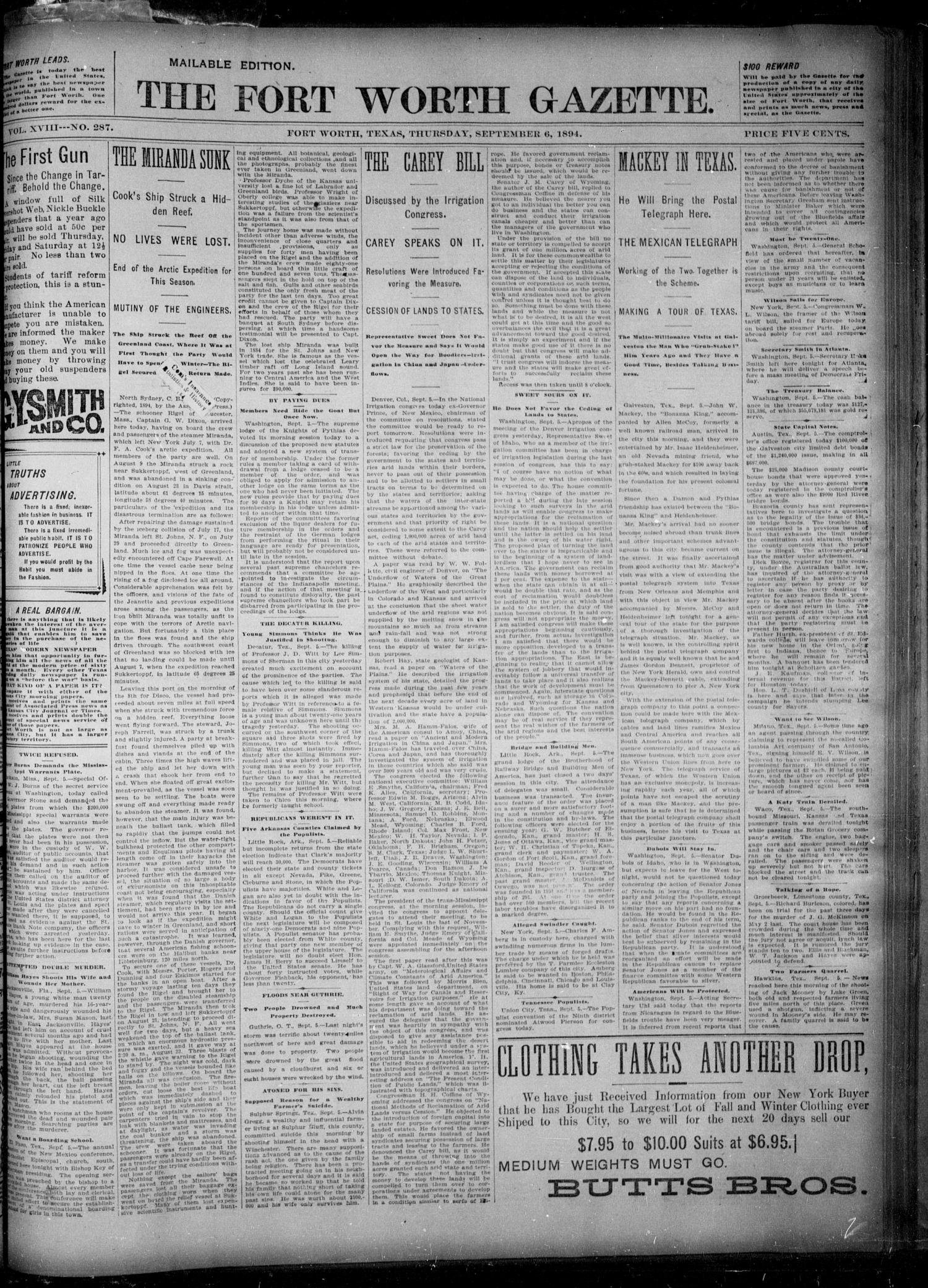 Fort Worth Gazette. (Fort Worth, Tex.), Vol. 18, No. 287, Ed. 1, Thursday, September 6, 1894                                                                                                      [Sequence #]: 1 of 8