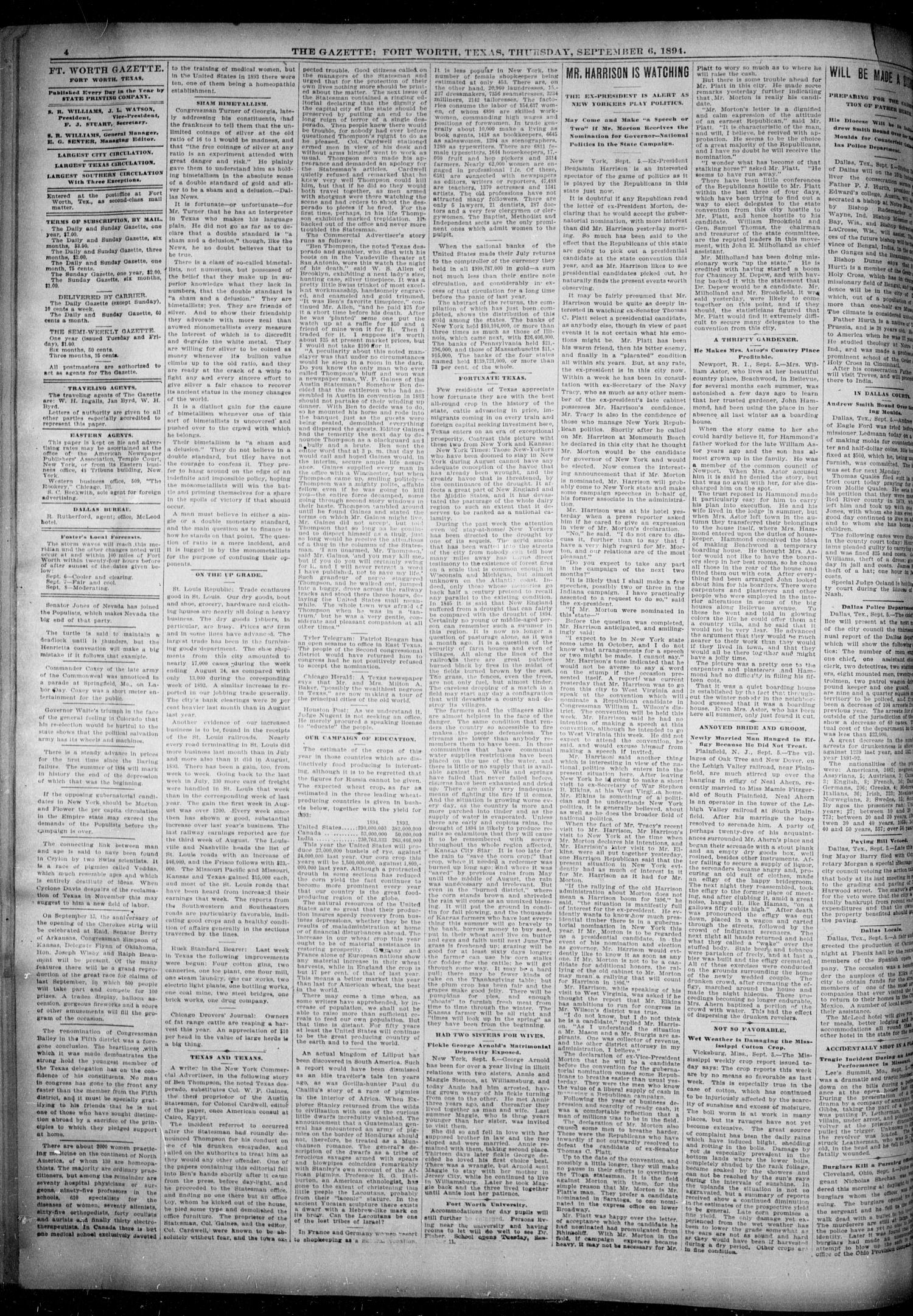 Fort Worth Gazette. (Fort Worth, Tex.), Vol. 18, No. 287, Ed. 1, Thursday, September 6, 1894                                                                                                      [Sequence #]: 4 of 8