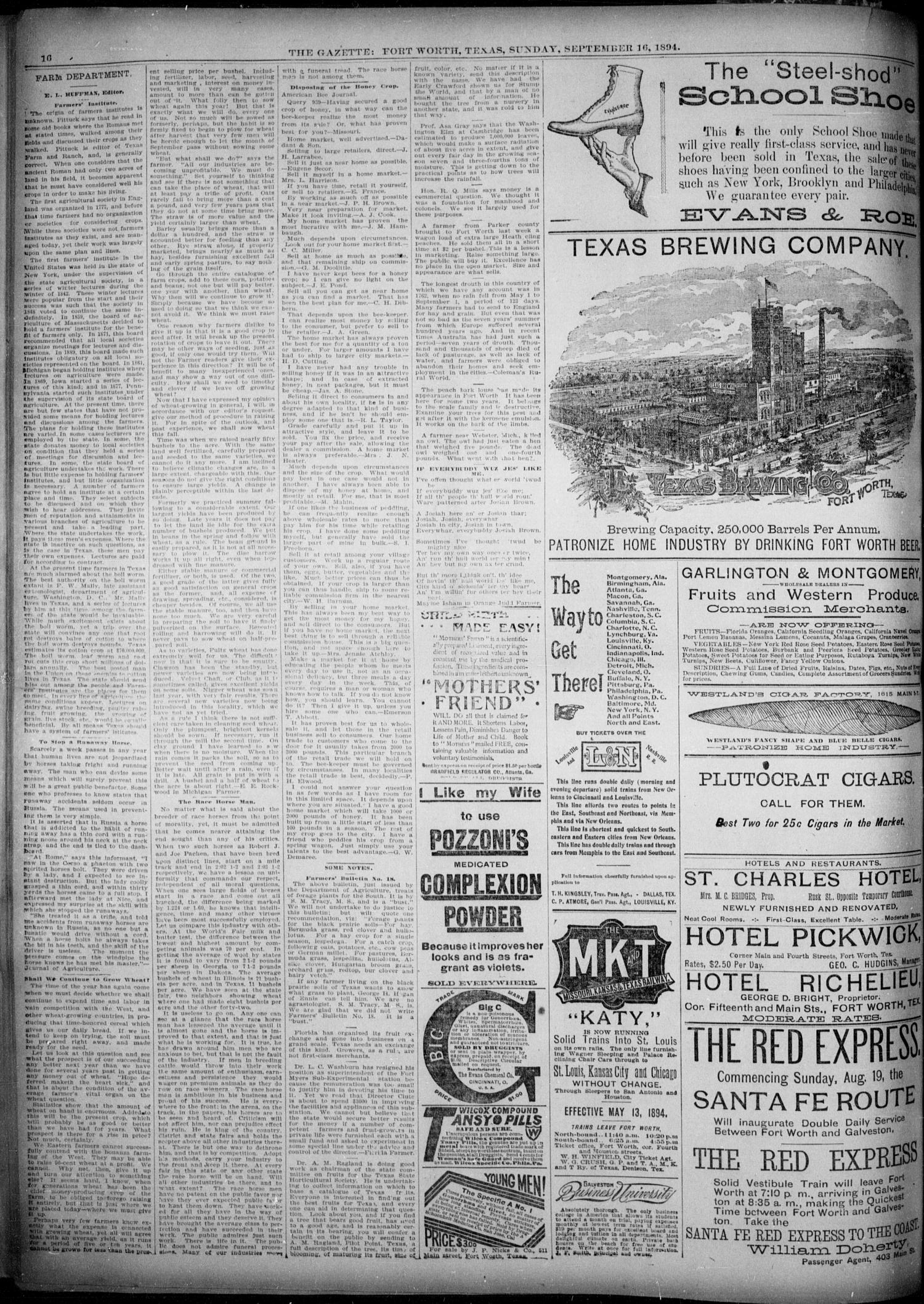 Fort Worth Gazette. (Fort Worth, Tex.), Vol. 18, No. 297, Ed. 1, Sunday, September 16, 1894                                                                                                      [Sequence #]: 16 of 16