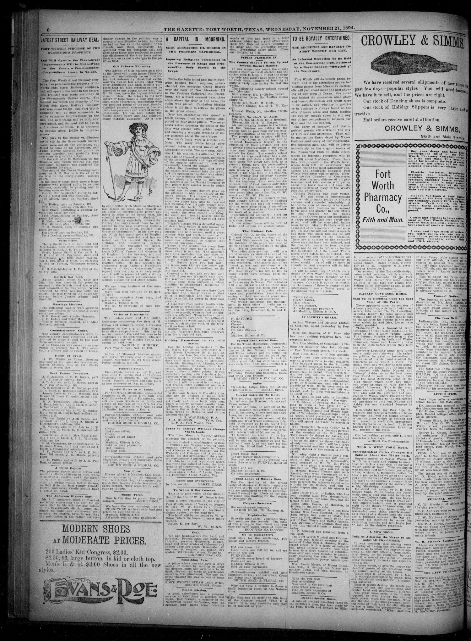 Fort Worth Gazette. (Fort Worth, Tex.), Vol. 18, No. 363, Ed. 1, Wednesday, November 21, 1894                                                                                                      [Sequence #]: 6 of 8