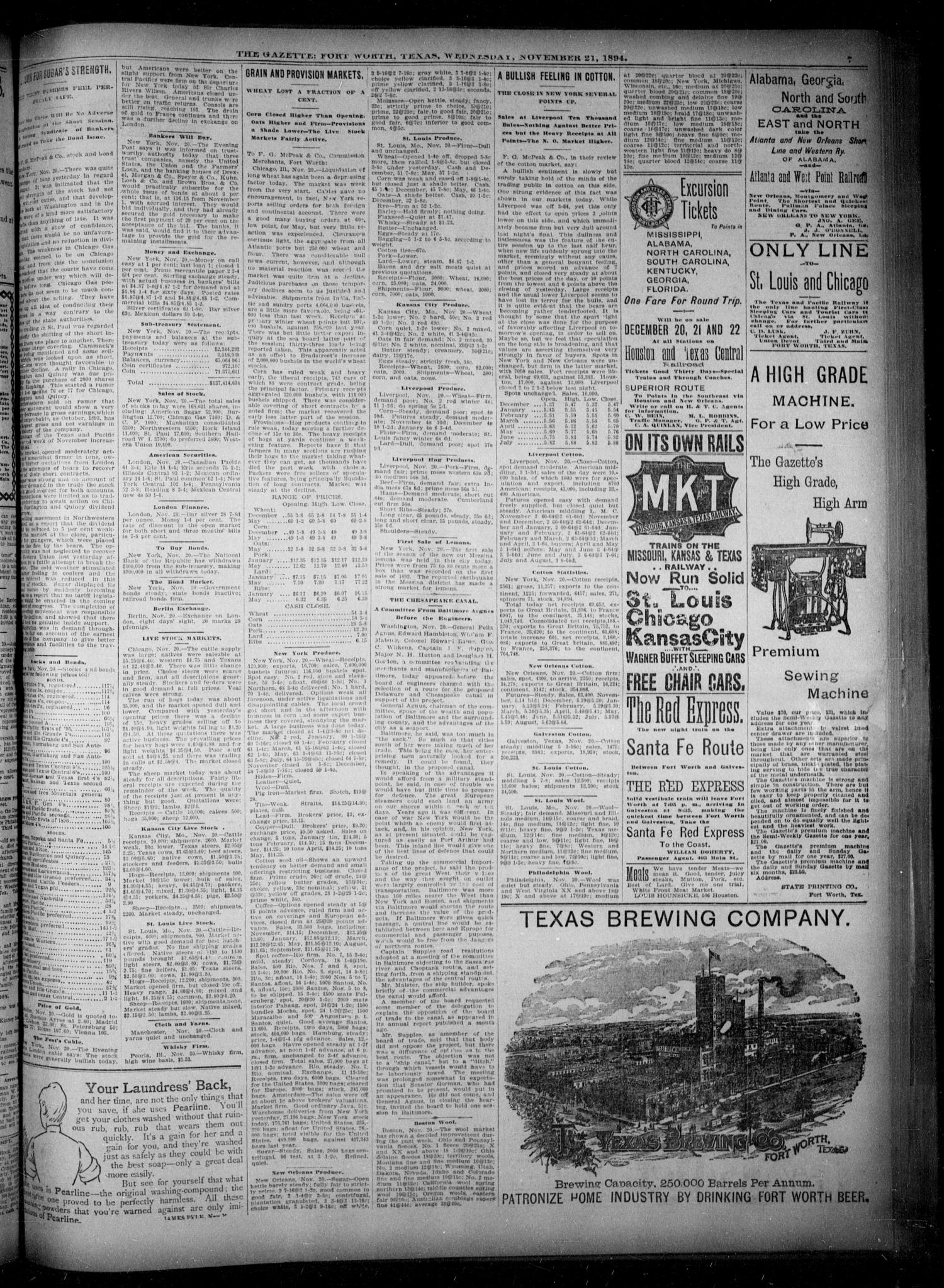 Fort Worth Gazette. (Fort Worth, Tex.), Vol. 18, No. 363, Ed. 1, Wednesday, November 21, 1894                                                                                                      [Sequence #]: 7 of 8