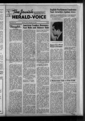 Primary view of The Jewish Herald-Voice (Houston, Tex.), Vol. 33, No. 34, Ed. 1 Thursday, November 24, 1938