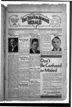 Primary view of The Texas Jewish Herald (Houston, Tex.), Vol. 29, No. 41, Ed. 1 Thursday, January 16, 1936
