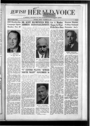 Primary view of Jewish Herald-Voice (Houston, Tex.), Vol. 34, No. 34, Ed. 1 Thursday, November 16, 1939