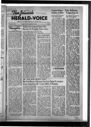 Primary view of The Jewish Herald-Voice (Houston, Tex.), Vol. 33, No. 23, Ed. 1 Thursday, September 8, 1938