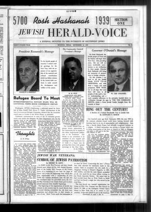 Primary view of Jewish Herald-Voice (Houston, Tex.), Vol. 34, No. 25, Ed. 1 Thursday, September 14, 1939