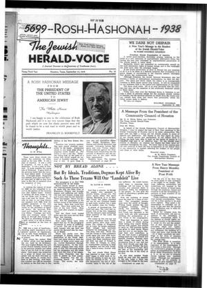 Primary view of The Jewish Herald-Voice (Houston, Tex.), Vol. 33, No. 25, Ed. 1 Thursday, September 22, 1938