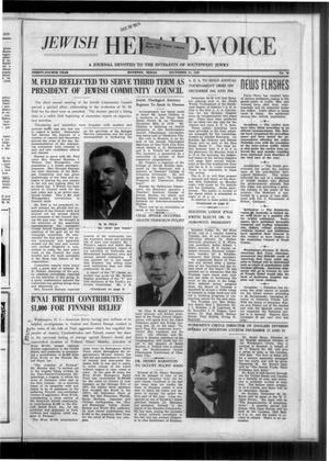 Primary view of Jewish Herald-Voice (Houston, Tex.), Vol. 34, No. 39, Ed. 1 Thursday, December 21, 1939