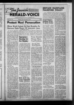 Primary view of The Jewish Herald-Voice (Houston, Tex.), Vol. 33, No. 33, Ed. 1 Thursday, November 17, 1938