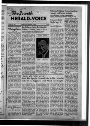 Primary view of The Jewish Herald-Voice (Houston, Tex.), Vol. 33, No. 24, Ed. 1 Thursday, September 15, 1938