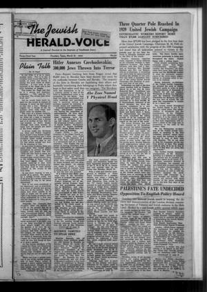 Primary view of The Jewish Herald-Voice (Houston, Tex.), Vol. 33, No. 50, Ed. 1 Thursday, March 16, 1939