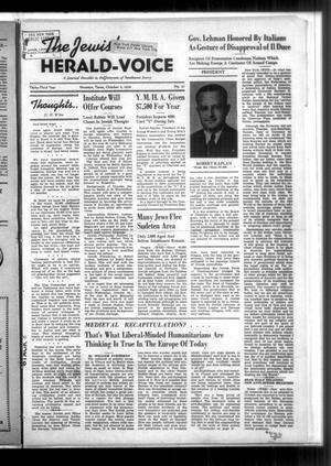 Primary view of object titled 'The Jewish Herald-Voice (Houston, Tex.), Vol. 33, No. 27, Ed. 1 Wednesday, October 5, 1938'.