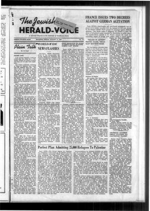 Primary view of The Jewish Herald-Voice (Houston, Tex.), Vol. 34, No. 21, Ed. 1 Thursday, August 17, 1939