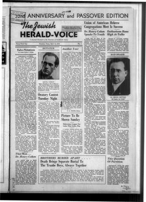 Primary view of The Jewish Herald-Voice (Houston, Tex.), Vol. 33, No. 2, Ed. 1 Thursday, April 14, 1938