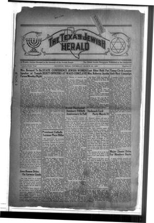 Primary view of The Texas Jewish Herald (Houston, Tex.), Vol. 29, No. 51, Ed. 1 Thursday, March 26, 1936