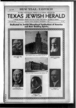 Primary view of Texas Jewish Herald (Houston, Tex.), Vol. 31, No. 22, Ed. 1 Thursday, September 2, 1937