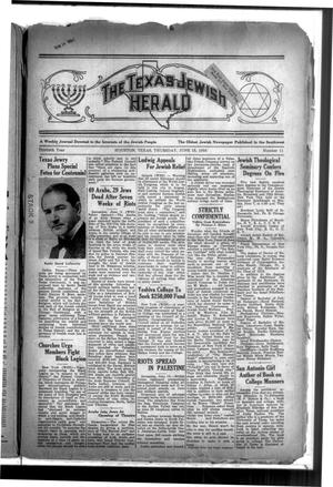 Primary view of The Texas Jewish Herald (Houston, Tex.), Vol. 30, No. 11, Ed. 1 Thursday, June 18, 1936
