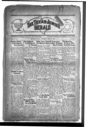 Primary view of The Texas Jewish Herald (Houston, Tex.), Vol. 30, No. 4, Ed. 1 Thursday, April 30, 1936