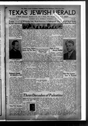 Primary view of object titled 'Texas Jewish Herald (Houston, Tex.), Vol. 31, No. 35, Ed. 1 Thursday, December 2, 1937'.