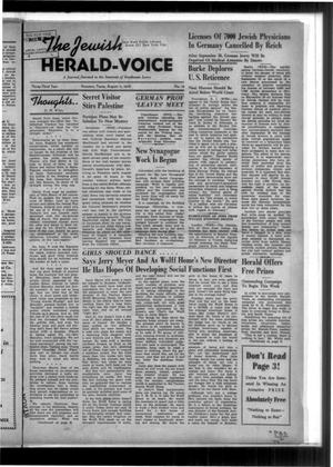 Primary view of The Jewish Herald-Voice (Houston, Tex.), Vol. 33, No. 19, Ed. 1 Thursday, August 11, 1938