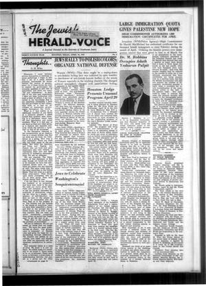 Primary view of The Jewish Herald-Voice (Houston, Tex.), Vol. 34, No. 4, Ed. 1 Thursday, April 20, 1939