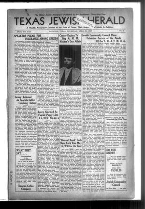 Primary view of Texas Jewish Herald (Houston, Tex.), Vol. 31, No. 4, Ed. 1 Thursday, April 29, 1937