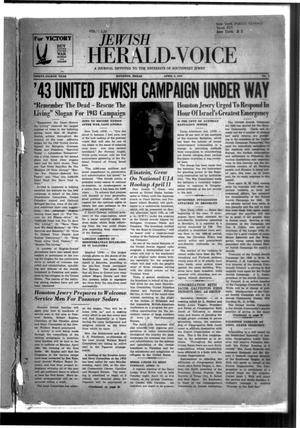 Primary view of object titled 'Jewish Herald-Voice (Houston, Tex.), Vol. 38, No. 5, Ed. 1 Thursday, April 8, 1943'.