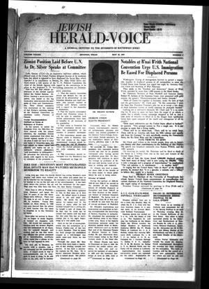 Primary view of Jewish Herald-Voice (Houston, Tex.), Vol. 42, No. 6, Ed. 1 Thursday, May 15, 1947