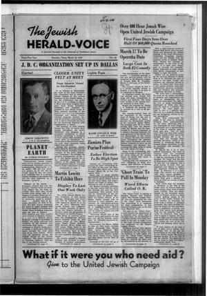 Primary view of The Jewish Herald-Voice (Houston, Tex.), Vol. 31, No. 49, Ed. 1 Thursday, March 10, 1938