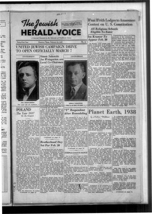 Primary view of The Jewish Herald-Voice (Houston, Tex.), Vol. 31, No. 45, Ed. 1 Thursday, February 10, 1938