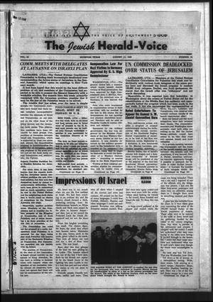 Primary view of The Jewish Herald-Voice (Houston, Tex.), Vol. 44, No. 18, Ed. 1 Thursday, August 11, 1949