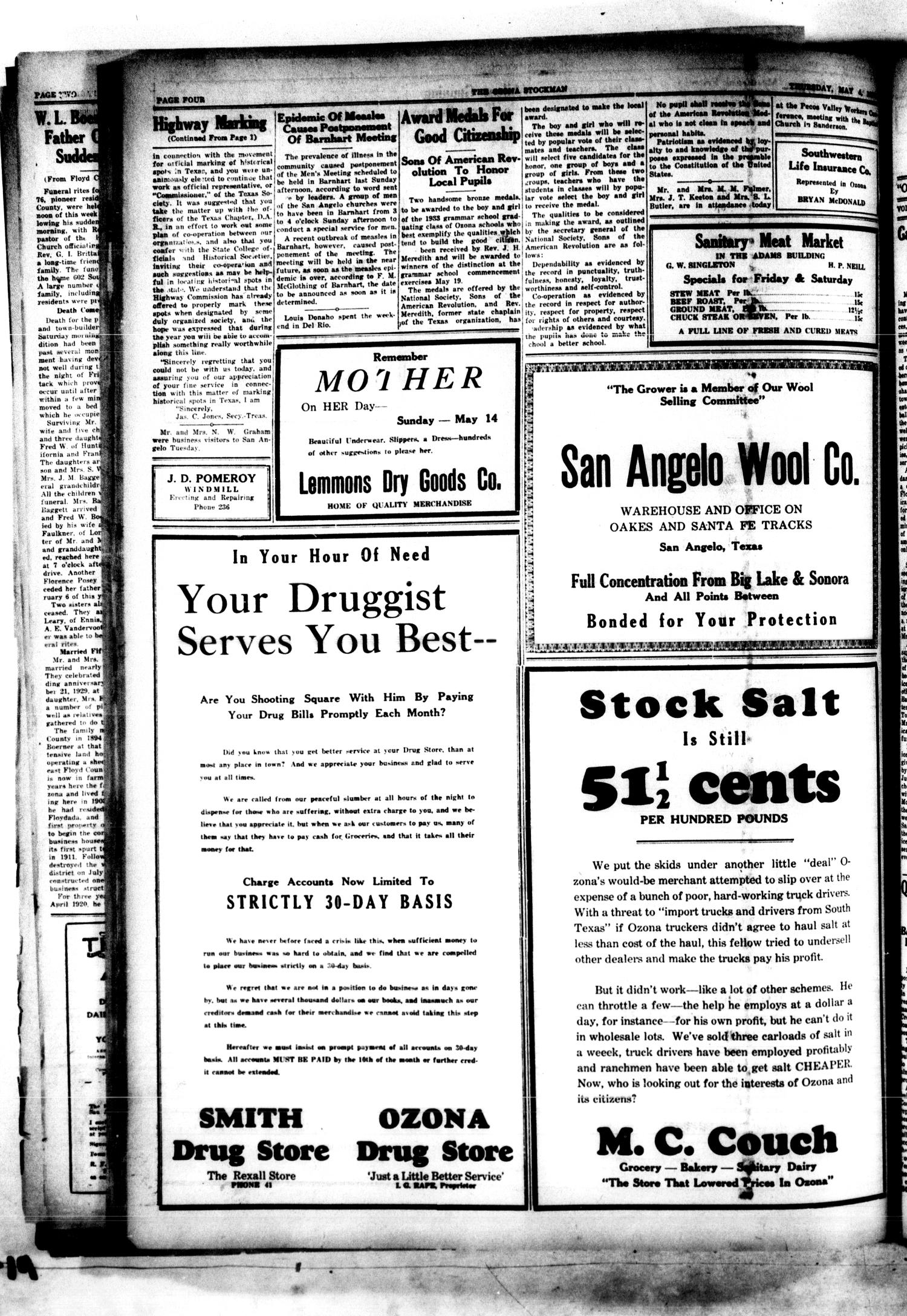 The Ozona Stockman (Ozona, Tex.), Vol. 20, No. 4, Ed. 1 Thursday, May 4, 1933                                                                                                      [Sequence #]: 4 of 4