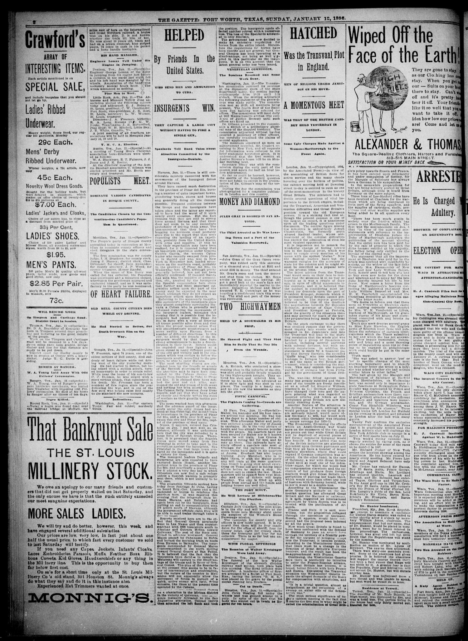 Fort Worth Gazette  (Fort Worth, Tex ), Vol  20, No  40, Ed