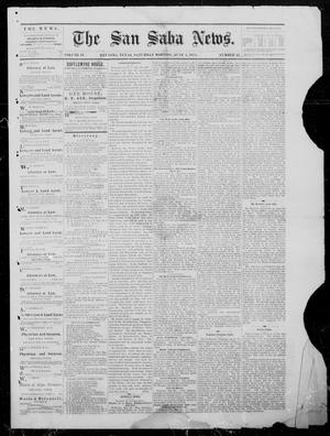 Primary view of object titled 'The San Saba News. (San Saba, Tex.), Vol. 4, No. 52, Ed. 1, Saturday, June 1, 1878'.
