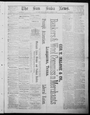 Primary view of object titled 'The San Saba News. (San Saba, Tex.), Vol. 10, No. 25, Ed. 1, Saturday, March 15, 1884'.
