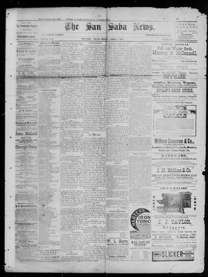 Primary view of object titled 'The San Saba News. (San Saba, Tex.), Vol. 13, No. 25, Ed. 1, Friday, April 8, 1887'.