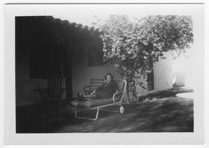 Primary view of object titled '[Unidentified Woman Sitting on a Patio in Palm Springs]'.