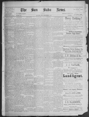 Primary view of object titled 'The San Saba News. (San Saba, Tex.), Vol. 16, No. 6, Ed. 1, Friday, December 6, 1889'.