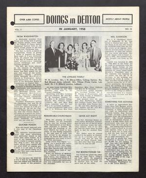 Primary view of object titled 'Doings in Denton (Denton, Tex.), Vol. 2, No. 10, Ed. 1, January 1958'.