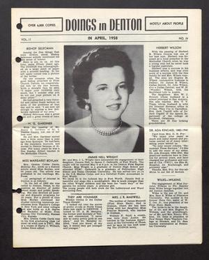 Doings in Denton (Denton, Tex.), Vol. 2, No. 4, Ed. 1, April 1958