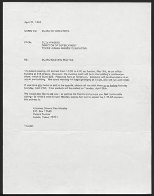 Primary view of object titled '[Letter from Suzy Wagers to the Texas Human Rights Foundation Board of Directors, April 21, 1992]'.