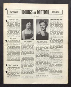 Doings in Denton (Denton, Tex.), Vol. 3, No. 3, Ed. 1, March 1959