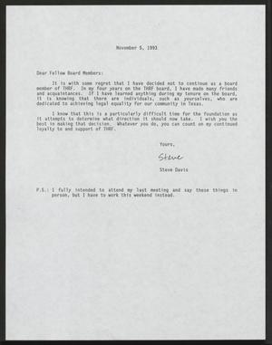 Primary view of object titled '[Letter from Steve Davis to Texas Human Rights Foundation Board Members, November 5, 1993]'.