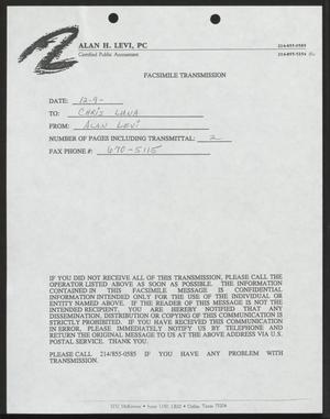Primary view of object titled '[Fax from Alan Levi to Chris Luna, December 9, 1993]'.